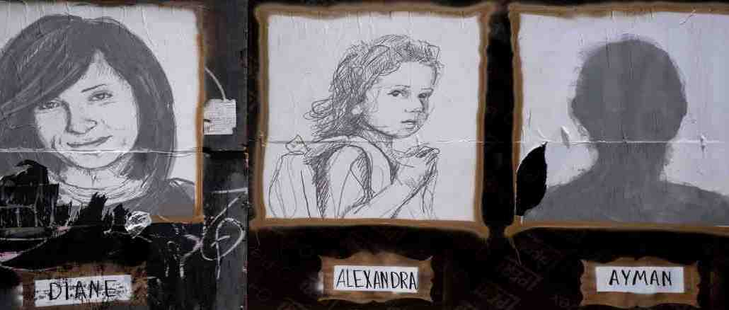 A portrait of Alexandra is posted on some construction hoarding in Beirut on July 12. Photo: Rafael Yghobzadeh / The globe and mail.