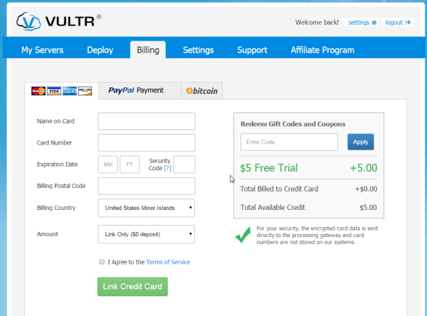 Vultr enter billing information credit card.