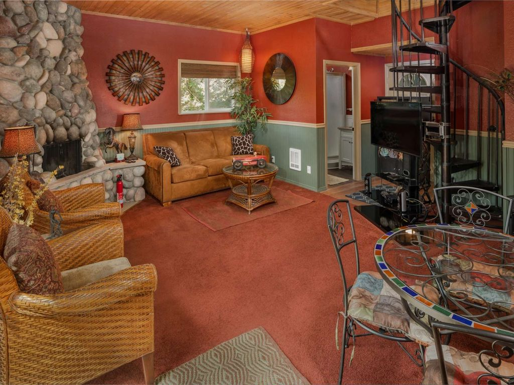 wine country living room decorating ideas area rugs cottage nestled in trees near vineyard with fire pit and private wooded patio