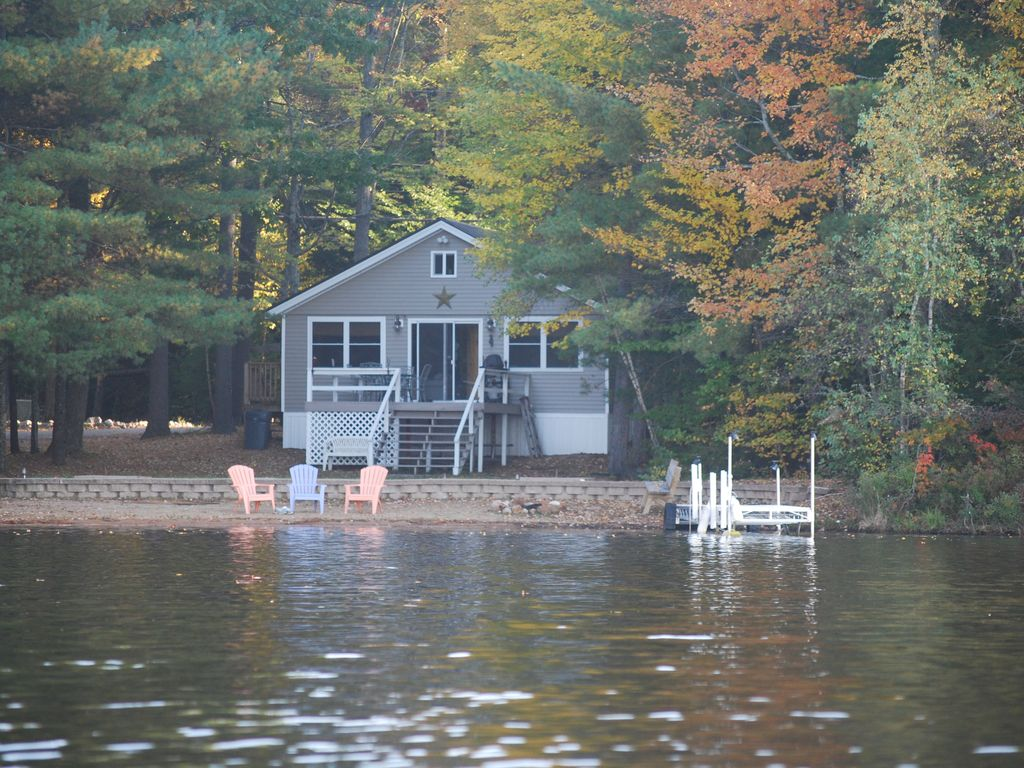 Beautiful lakefront cabin with private beac  VRBO