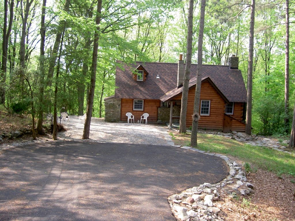 Rustic country log cabin at Culver Lake  Frankford