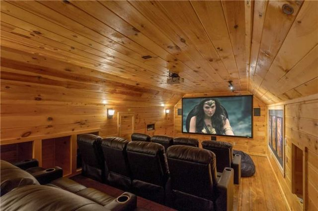 You�??ll never look at your local cinema the same way again - The home theater is equipped with a giant screen, multiple speakers, and generously padded reclining chairs. Don�??t forget the popcorn!