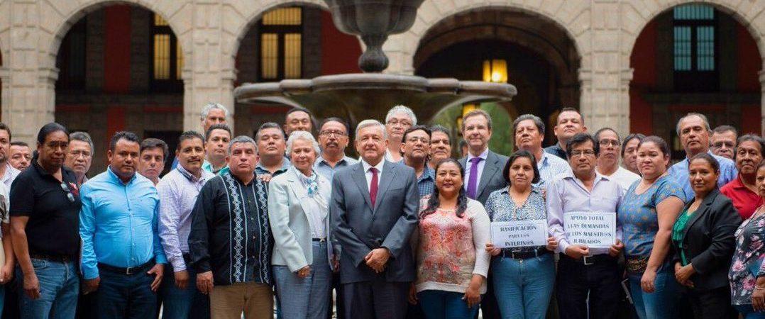 Reunión AMLO CNTE, en presidencia. 27 de mayo de 2019