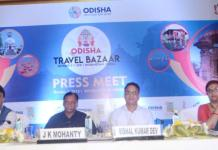 JK Mohanry, Chairman, Tourism Panel, FICCI Odisha Council addressing the media at OTB 2018 press meet