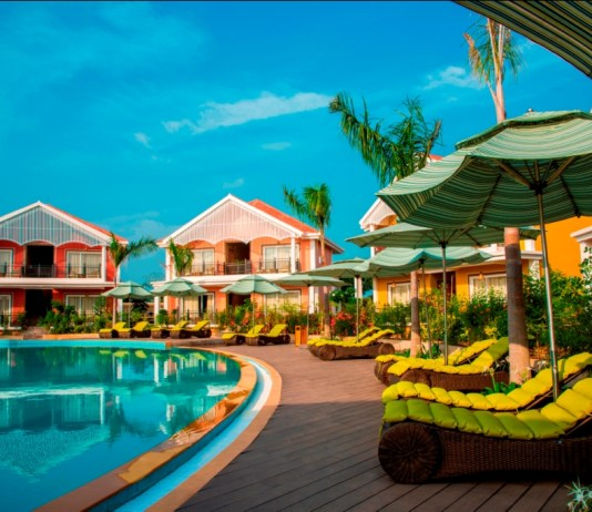 Pool side view of Swosti CHilika resort near Chilika Lagoon, Ganjam, Odisha
