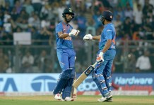KL Rahul of India and Rohit Sharma of India during the third T20I match between India and the West Indies held at the Wankhede Stadium, Mumbai on the 11th December 2019.