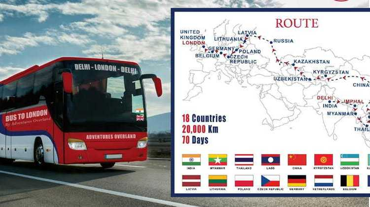 Delhi to London bus map
