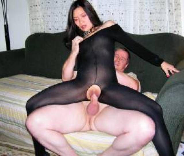 She Looks So Damn Sexy In That Bodystocking And That Cock Looks So Good Stretching That