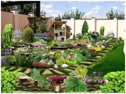 Пестрый дизайн сада и садовая печь