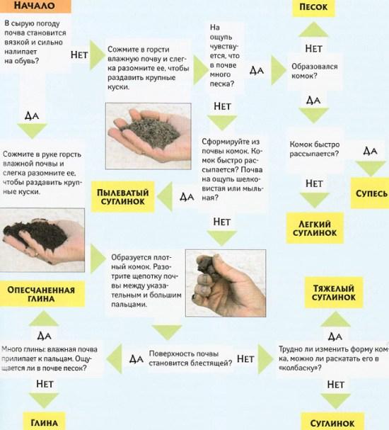 определить тип грунта на участке руками