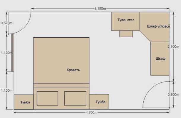 планировка мебели в спальной комнате