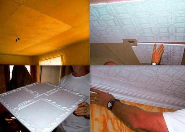 клеевой потолок, плитки из полистирола