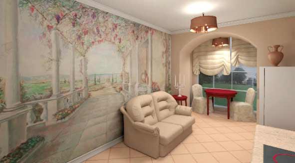увеличение пространства комнаты, фотообои