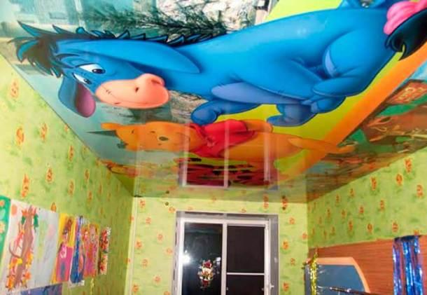 потолки в детской, рисунки на нем