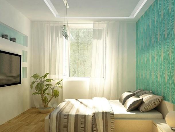 дизайн небольшой комнаты, минимализм, прозрачные занавески