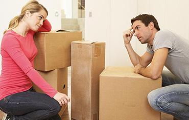 переезд, коробки, супруги