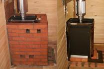 Обкладка кирпичом металлической твердотопливной печи (до и после)
