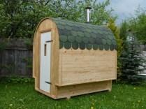 Миниатюрная передвижная баня которая умещается в прицеп или пикап