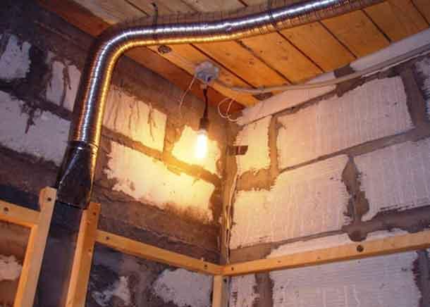 вентиляция парной бани, воздуховод