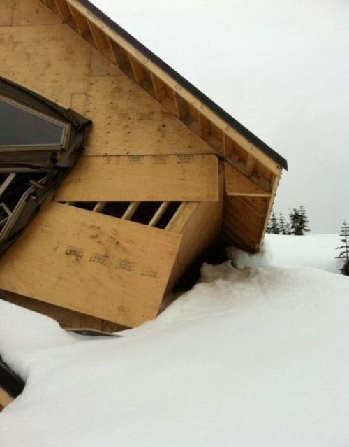 Разрушение щитового дома от снега