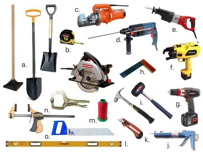 инструменты для оборудования пруда на даче