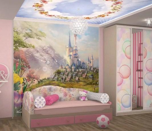 фото-обои в детской комнате на потолке