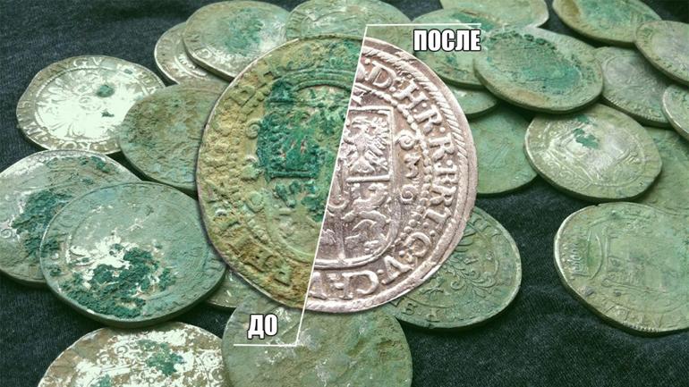 Czyszczenie srebrnych monet z sokiem z cytryny