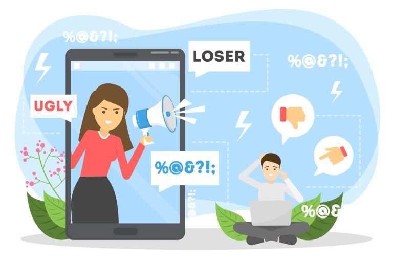 Grafika symbolizująca nękanie i hejt w Internecie