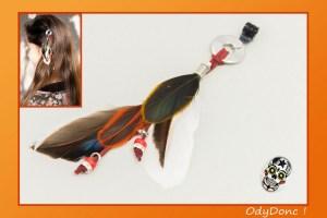 Bijou de Cheveux Rock Ethnique Pince Crabe Plumes et Perles
