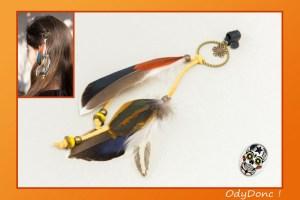 Bijou de Cheveux Bohème Chic Pince Crabe Plumes et Perles