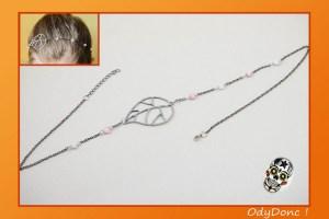 Bijou de Cheveux Minimaliste Romantique Pendentif Filigrané Chaîne et Perles Sweety