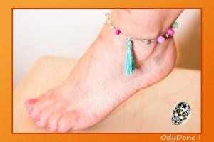 Bracelet de Cheville Bijou Ethnique Romantique Acidulé Fushia et Argent