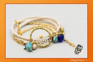 Bracelet Ethnique Attrape Rêves Dreamcatcher Pendentif Artisanal Boho Chic Double Tour