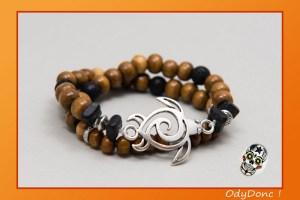Bracelet Double Tour Ethnique Tribal Homme Mixte Unisexe Pendentif Tortue Perles Bois