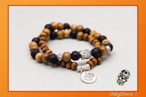 Bracelet Double Tour Ethnique Zen Homme Mixte Unisexe Pendentif Bouddha Ohm Perles Bois