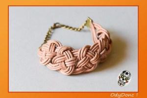 Bracelet Manchette Tendance Bohème Chic Cuir Marron Nœud Marin