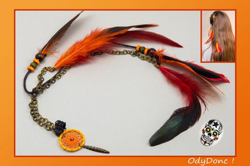 Bijou de Cheveux Inspiration Automne Pince Crabe Pendentif Attrape Rêves Dreamcatcher Capteur de Rêves