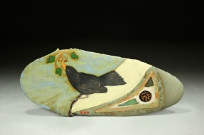 Blackbird and Berries, ceramic tile by Elaine Lacy