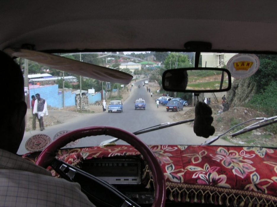 first view, from a taxi