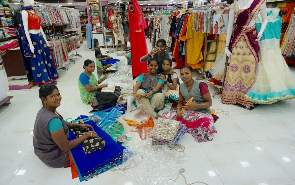 in a sari shop