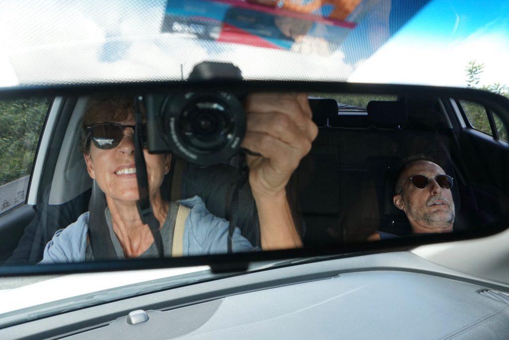 rear-view mirror selfie
