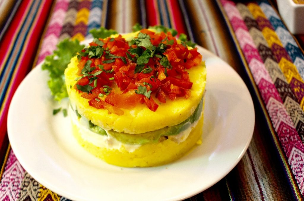 layers of potato, chicken, guacamole & red pepper .... so yummy!