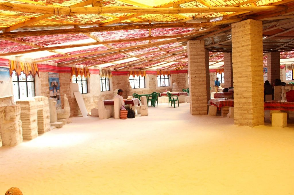 a lunch spot made entirely of salt blocks