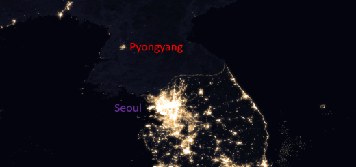 Korean Peninsula by night