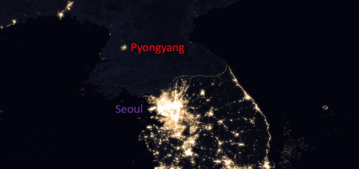 Korean Peninsula by night