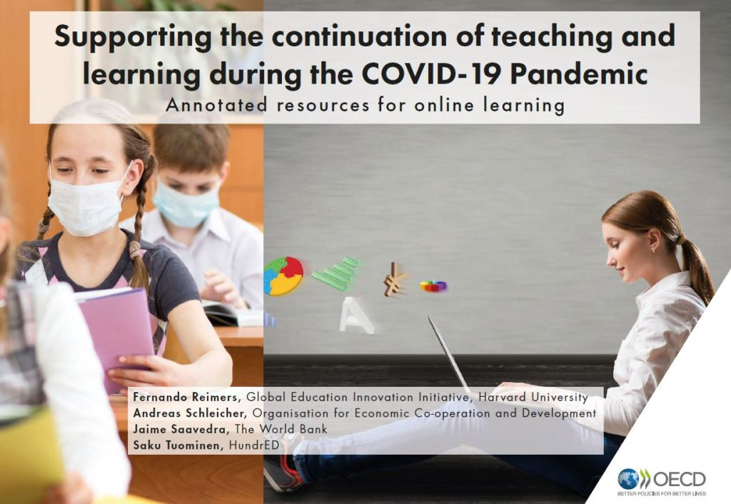 Cover of OECD, World Bank, HundrEd, Harvard education resources during coronavirus booklet
