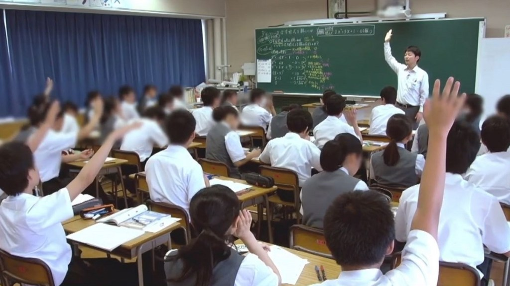 Japanese classroom scene with teacher at front with blackboard and students sitting at desks with hands raised