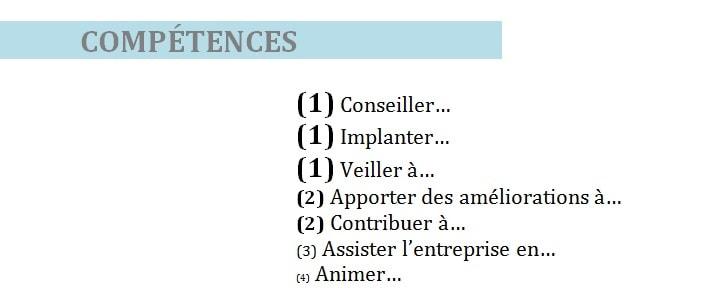 points competences cv