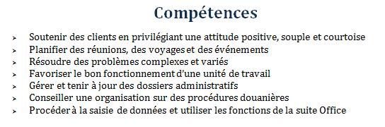competences sur un cv exemple