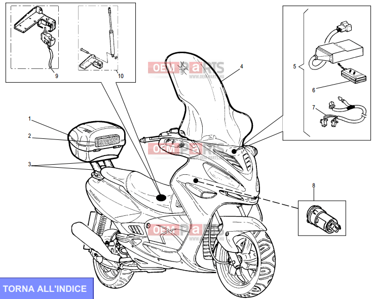 Malaguti Madison T 150 Accessori exploded drawing > oem